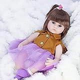 KUMADAI Muñeca Bebe, Renacimiento Muñeca Simulación Juguete para Bebés Hijos Comodidad Sueño Protección Ambiental Muñecas De Silicona Suave Reborn Muñecas16 Pulgadas,Deerskin Skirt