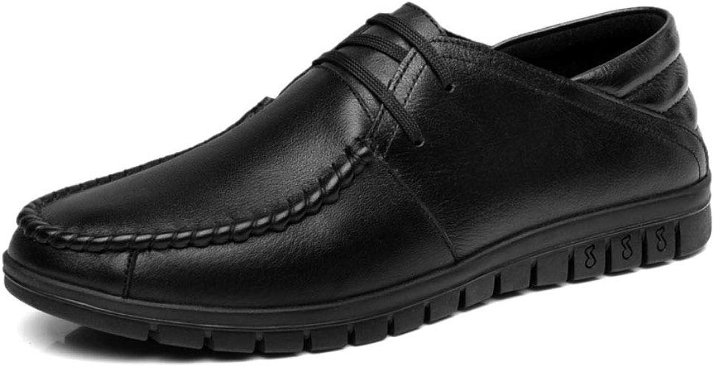 JHHXW Erbsenschuhe Herrenschuhe Natürliches Leder Soft Leder weiche untere Gelegenheitsschuhe Dad Schuhe, schwarz