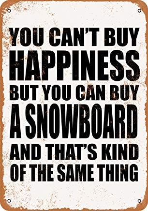 BRILLON Je kunt geen geluk kopen, maar je kunt een Snowboard Vintage Look Metal Tin Sign kopen - 8x12 inch