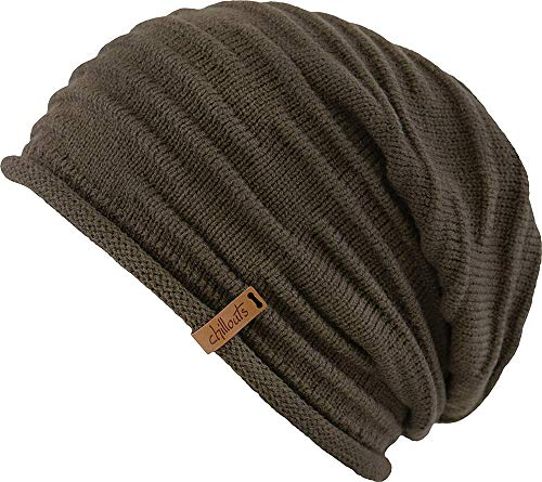 CHILLOUTS Aarony Long Beanie Strickmütze Mütze Wintermütze Oversize-Mütze Oversizemütze (One Size - Braun)