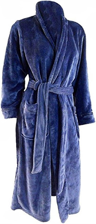 Carole Hochman Womens Plush Soft Polyester Fleece Wrap Robe, Navy, Large