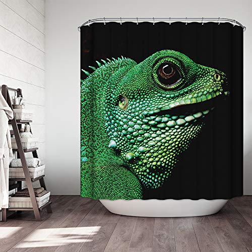 KISY Green Lizard Badevorhang Tier-Close-up Stoff Wasserdicht Badezimmer Duschvorhang schwarz Standardgröße 177,8 x 177,8 cm