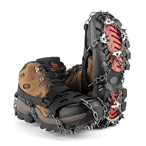 MIRACOL Crampons Ice Cleats 23 Micro Spikes Anti Slip Traction Grips Profect for Ice Fishing Hiking Walking Climbing Jogging MountaineeringBlack XL