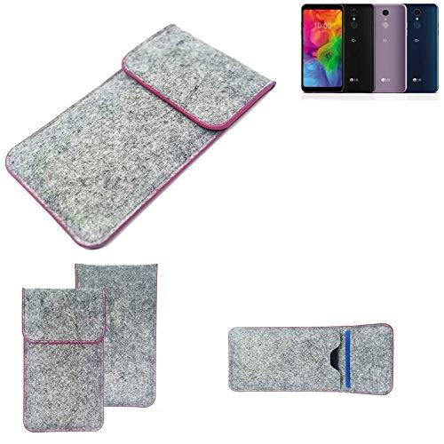 K-S-Trade® Handy Schutz Hülle Für LG Electronics Q7 Alfa Schutzhülle Handyhülle Filztasche Pouch Tasche Case Sleeve Filzhülle Hellgrau Pinker Rand