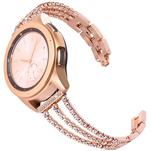 Surace Compatible with Galaxy Active 2 Watch Band 40mm 44mm Women Bracelet Replacement for Galaxy Watch 42mm Band Galaxy Watch Band Galaxy Watch 3 41mm Smart Watch, Rose Gold