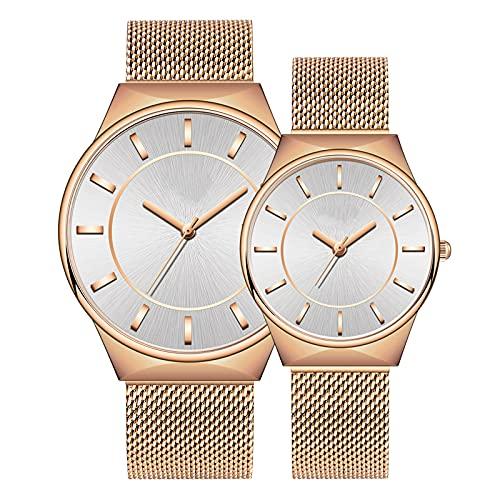 SIMEISM Amor 2Pcscouple Reloj de pulsera de cuarzo de acero inoxidable para hombres y mujeres moda regalo de San Valentín amantes relojes