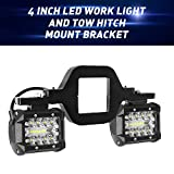 LED Work Light Pods,EBESTauto 4 Inch LED Light Bar with 2.5 Inch Towing Hitch Mount Brackets LED Bar for Truck Trailer SUV Pickup Fit Dual Led Off-Road Driving Light bar(FedEx,UPS)