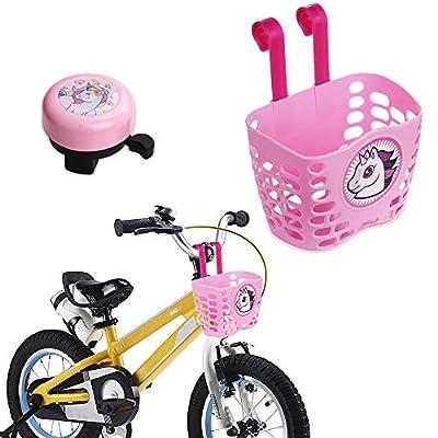 MINI-FACTORY Kid's Bike Basket and Bell 2pcs Play Set for Kid Girls, Cute Pink Cartoon Unicorn Pattern Bicycle Handlebar Basket Plus Safe Cycling Ring Horn (Basket + Ring Horn)