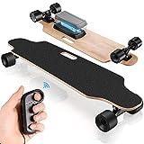 Hesyovy Das neueste Elektrisches Skateboard mit kabelloser Fernbedienung für Erwachsene und Kinder (Schwarz)