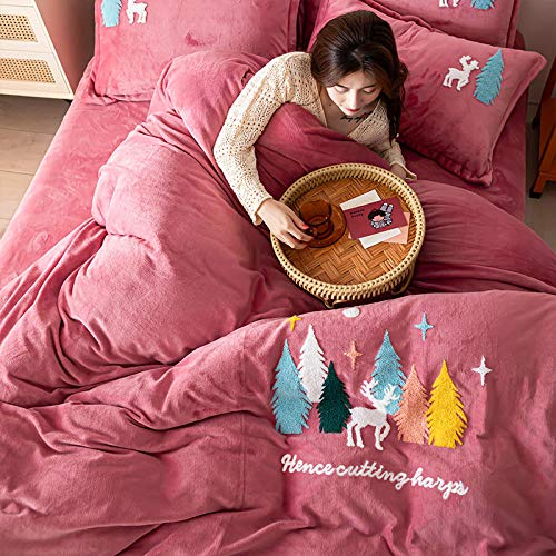Juego de ropa de cama con funda de edredón-Otoño e invierno gruesa cálida franela cama individual funda nórdica individual funda de almohada toalla bordado kit de cuatro piezas regalo-GRAMO_Hojas de