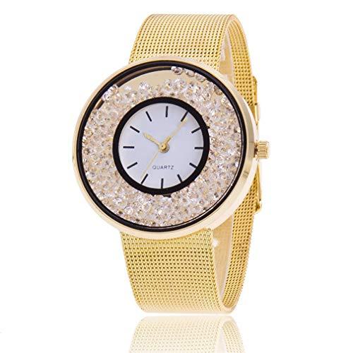 Scpink Netzgürtel Damen Ultrasottile Sabbie Möbel Diamant Quarzuhr Studentenuhr Freizeituhr 22cm Gold