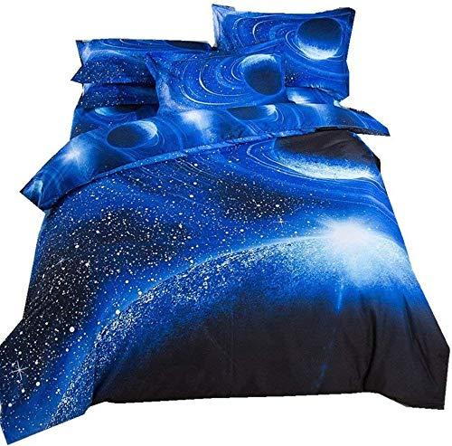 3D galaktischen kosmischen Himmel Anzüge Kinderbett Einhorn Sterne Mond Farbdruck Einzelbettbezug 140 x 200 cm,C