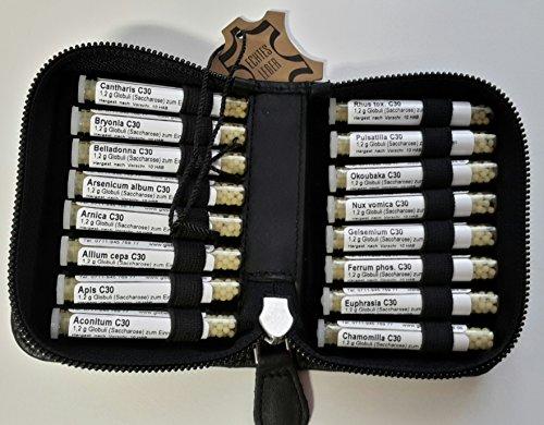 C 30 Potenzen Taschenapotheke, schwarz,-PORTOFREI-,16 Mittel á 1,2g Globuli in UV-Schutzglas-Röhrchen in einem hochwertigen Bio-Leder Etui mit Strahlen-Abschirmung.