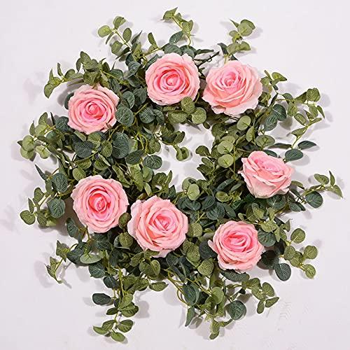 ZYYYYY Rose Artificial Vine 1.8m Rose Colgando Flores De Vid Guirnalda para El Arco De Boda Al Aire Libre Decoración De La Pared del Jardín