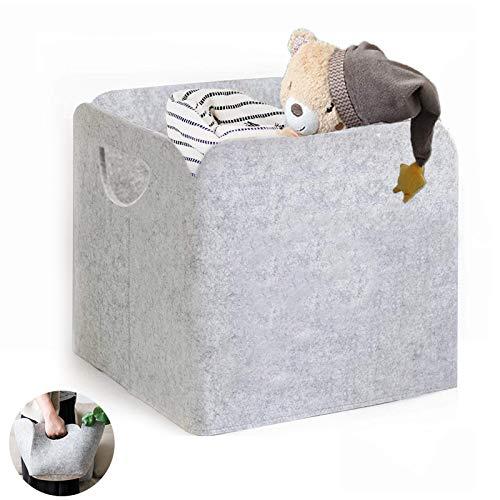 Dzsee Aufbewahrungsbox Organizer, 30 * 30 * 24(cm) Faltbare, Aufbewahrungskorb aus Filz Stoff, Aufbewahrungsbehälter ohne Deckel, Grau Aufbewahrung Spielzeug, Kleidung, Wäschekorb