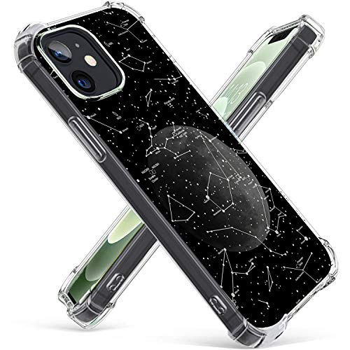 Hepix Compatible with iPhone 12 Constellation Case Star Moon iPhone 12 Pro Space Case Protective TPU Frame Bumpers Anti-Scratch Shockproof Galaxy Planet Cover Cool Clear Universe Case for iPhone 12
