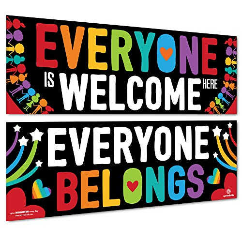 Sproutbrite Classroom Decorations - Welcome Banner and Poster for Teachers - Bulletin Board and Wall Decor for Pre School, Elementary and Middle School (Welcome Back To School Library Bulletin Boards)