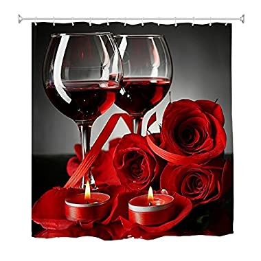 Goodbath Shower Curtain, Rose Red Wine Romantic lovers Waterproof Mildew Resistant Bath Curtain for Bathroom Accessories with Hooks, 72 x 72 Inch, Red Black