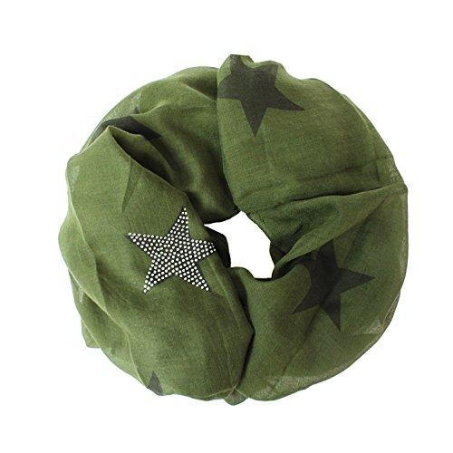 Glamexx24 Loop schal leichter Langschal Sterne Muster Schlauchschal Strass Tuch Viele Farben SC20170401, Grün, Einheitsgröße