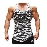 Homme Débardeur DOTBUY T-shirt sans Manches Stretch Shirt Tank Top Muscle Bodybuilding Blouse Maillot de Corps Sport Fitness Jogging (L, Camouflage noir et blanc)