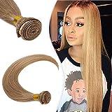 Hairro Peruvian Virgin Hair One Bundle Straight #27 Dark Blonde Human Hair Weave 20 Inch Sew in Honey Blonde Hair Weft Extensions 100g/bundle for Black Women