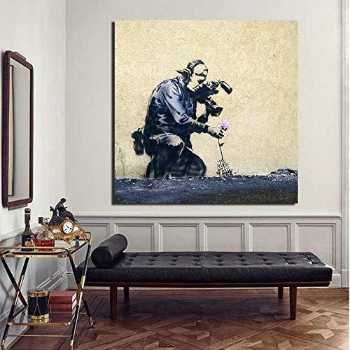 kldfig Banksy Graffiti-kunst met betekenis muurkunst canvas schilderij affiche print modern schilderij muurschildering voor woonkamer huis decoratie - 50x50cm zonder lijst