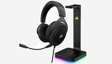 CORSAIR HS60 Surround - 7.1 Surround Sound Gaming Headset – Black, and CORSAIR ST100 RGB - Premium RGB Gaming Headset Stand