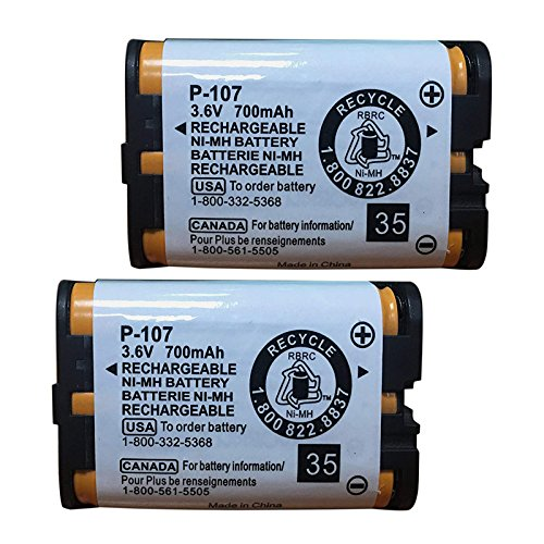 QBLPOWER HHRP107 Rechargeable Batteries Compatible with for Panasonic HHR-P107 HHR-P107A HHRP107A Cordless Phone 3.6v 700mAh Ni-MH(Pack of 2)