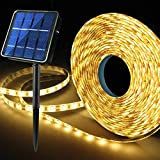 Upgraded 19.6FT 180 LED Solar Powered LED Strip Lights, Stairs Step Lights Outdoor Waterproof, 8 Lighting Mode Auto ON/Off Light Strips for Christmas Gazebo Canopy Pool Stairs Porch Coop(Warm White)