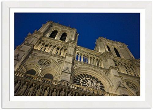 Quadro Decorativo para Quarto - Notre-Dame de Paris - Moldura 4 cm com Margem de 3x3