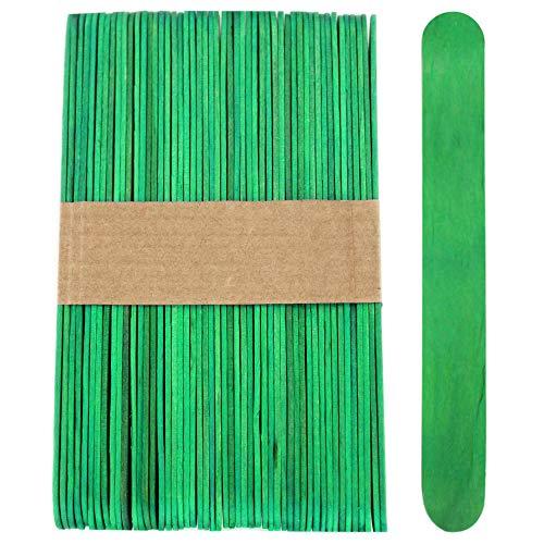 100 Sticks, Jumbo Wood Craft Popsicle Sticks 6 Inch (Green)
