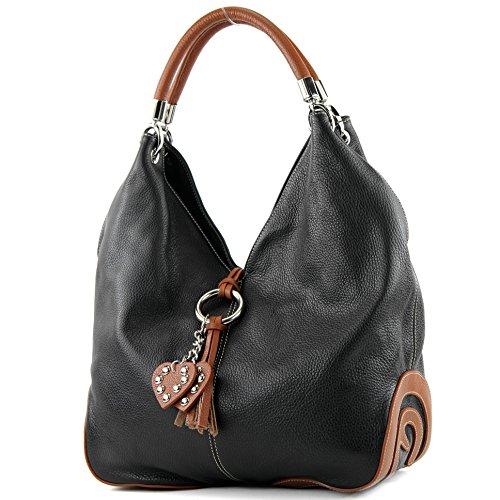 modamoda de - 330 - ital Handtasche Shopper Schultertasche Leder, Farbe:Schwarz/Cognac