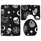 NiYoung Super Water Absorbent Non-Slip Skull Cat Moon Gothic Pattern Black Bathroom Mats Carpets Set 3 Piece Includes 31.5X19.7 Inch Bath Rug 19.7X15.7 Inch Contour Mat and 13.8X17.7 Inch Lid Cover