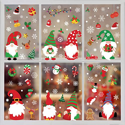 Tifeson Christmas Gnome Window Clings Holiday Decorations - 4 Sheets Christmas Gnome Elf Scandinavian Tomte Window Decals Decorations for Home Office