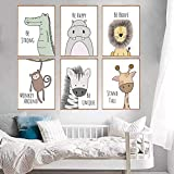 Cute Animals Wall Art Canvas Print Poster for Nursery Wall Decor Wall Art Painting for Baby Room Decor Kids Room Decoration (colour1 unframed)