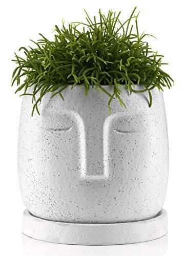 Blumentopf Kopf mit Untersetzer, Übertopf Gesicht - Deko Vase Beton, 10cm, Weiß