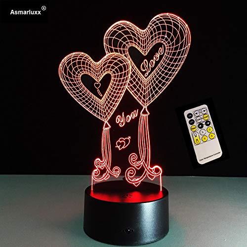 Valentinstag Geschenk Shop Liebe Beste Angebote Für Liebe 3D Herz LED Nachtlicht Mit 3D leuchtenden Touch-Fernbedienung Tischlampe