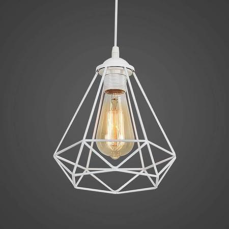 Industriel Suspension Luminaire Rétro Lustre Plafonnier Vintage Blanche Lampe Cage Éclairage de Plafond Abat-jour en Métal pour Restaurant Salon Chambre Cuisine Bar Couloir (sans ampoule)