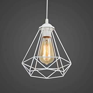 Industriel Suspension Luminaire Rétro Lustre Plafonnier Vintage Blanche Lampe Cage Éclairage de Plafond Abat-jour en Métal...