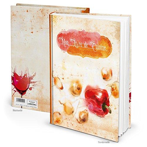 XXL receptenboek om zelf te schrijven, MON LIVRE de CUISINE oranje rood paprika titel, Fransisch 164 pagina's + register