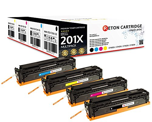 4 Original Reton Toner, kompatibel zu CF400X CF401X CF402X CF403X 201X für HP Color Laserjet Pro 200 M252n, M252dw, MFP M277dw, MFP M277n MFP M274n |3.850 Seiten Schwarz,3.880 Seiten Color