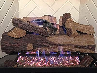 "Sure Heat VMO24RNG Vented Gas Log Set NG/LP with Remote Control Pilot, 24"", Appalachian Oak"