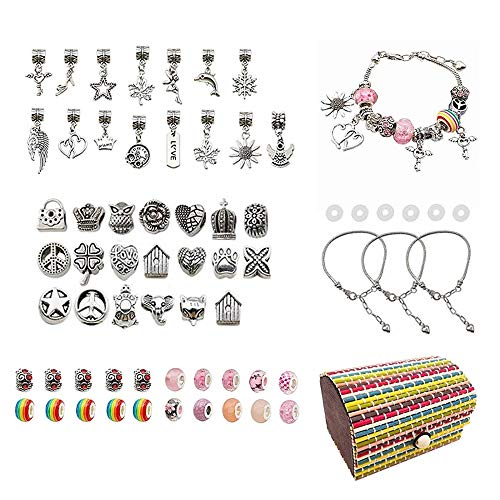 DONGKER 65Pcs Bracelet Making Kits,DIY Jewellery Making Set Include Silver Snake Bracelet Beads Silver Ball, Pendant Charms for Girls Adults and Beginner Jewelry Making