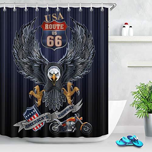 Nyngei Stoff Duschvorhang USA Route 66 Motorrad Adler Flagge Badezimmer Wasserdicht 183 x 183 cm