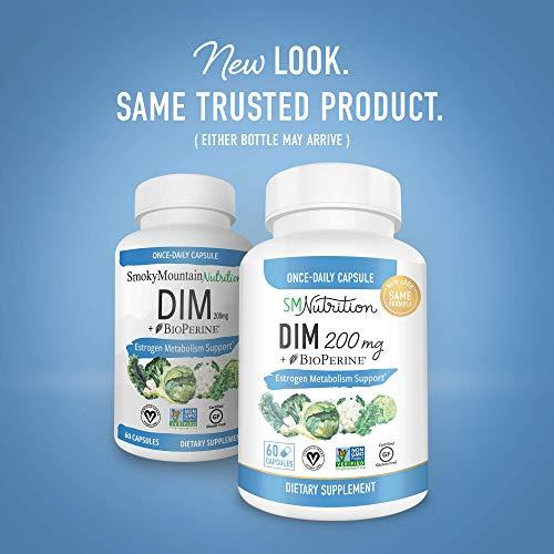 DIM Supplement 200mg - DIM Diindolylmethane Plus BioPerine 60-Day Supply of DIM for Estrogen Balance, Hormone Menopause Relief, Acne Treatment, PCOS, Bodybuilding