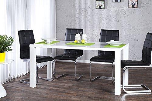DuNord Design Esstisch weiss hochglanz modern Tisch Küchentisch 140cm Design Konferenztisch BLANCHE