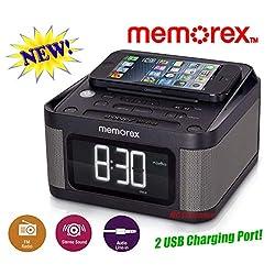 Memorex MC8431 with 2 USB Charging Alarm Clock Radio with 1.2 Inch LCD Display, FM Radio, 3.5mm Line-in Jack, Stereo Sound - Black