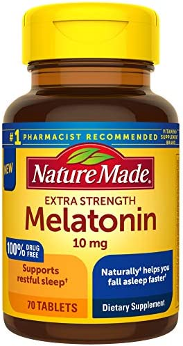 Nature Made Extra Strength Melatonin 10 mg Tablets Sleep Aid Supplement 70 Count product image