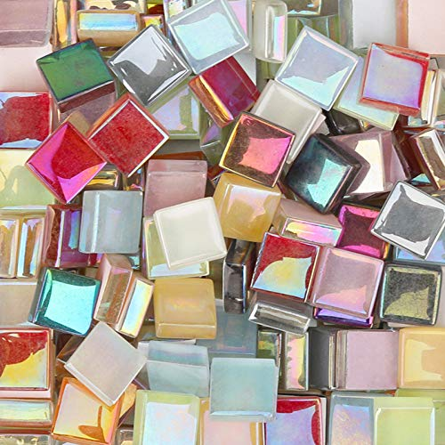 200Pcs Assorted Colors Square 0.4x0.4 inch Mosaic Tiles Crystal Iridescent Crystal Glass Mosaic Piece for Home Decoration Crafts Supply DIY Handmade Project - Mixed Colour