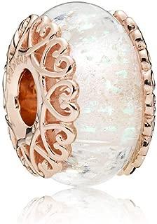 Rose Iridescent White Glass Murano Charm 787576